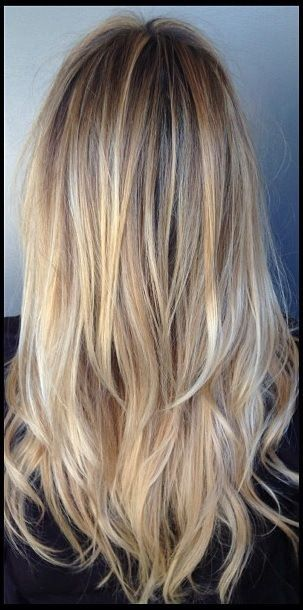 Back :: Long side bangs. Gap with longer layers. Superfine blonde highlights & naturally darker base. 2 or 2
