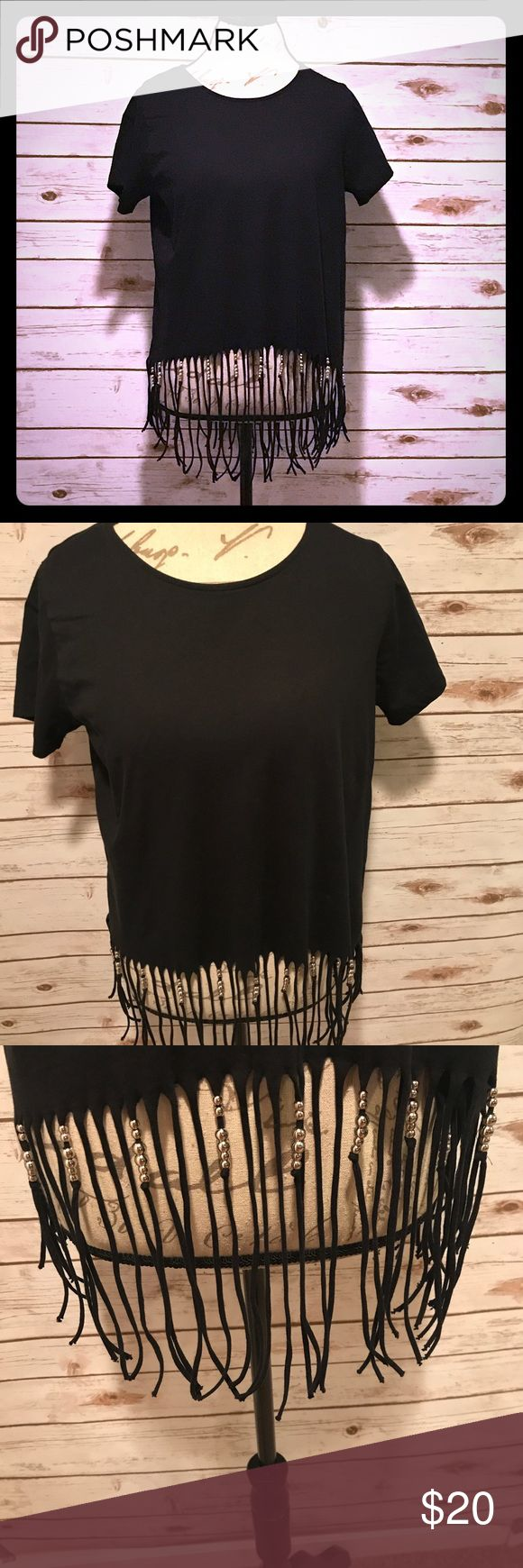 i jeans by Buffalo Black Beaded Fringe Shirt Worn once. No rips or stains. Size M i jeans by Buffalo Tops