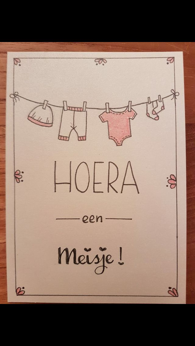Geboortekaartje: Hoera een meisje! - Handlettering