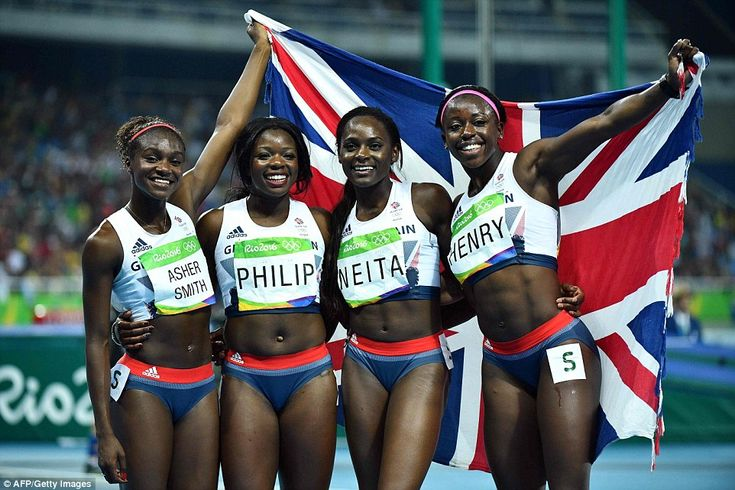 From left, Britain's Dina Asher-Smith,  Asha Philip,  Daryll Neita and  Desiree Henry celebrate after they won the bronze