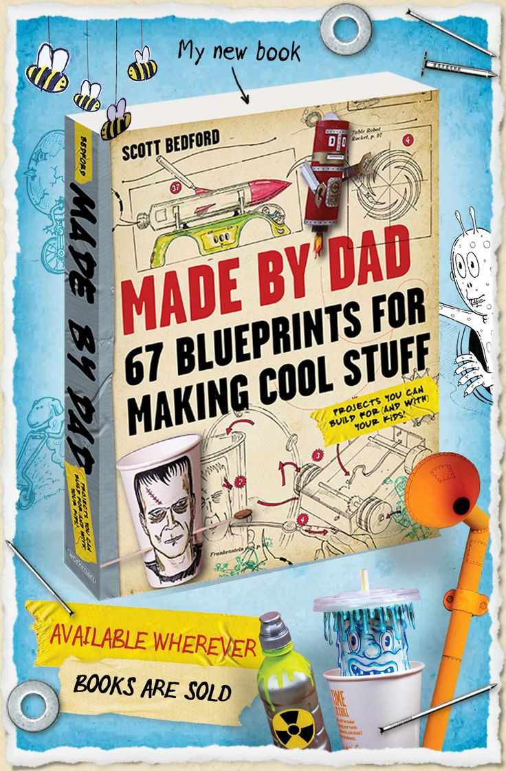 """Made by Dad: 67 blueprints for making cool stuff. Projects you can build for (or with) your kids"" is packed full of fun, quirky projects, all accompanied by detailed (but playful) hand drawn instructions,"