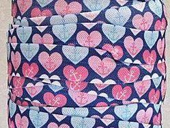 "Heart Anchor FOE 5/8"" -Fold Over Elastic 5/8 inch by the yard...Print FOE, Headbands, Hair Ties and More!"