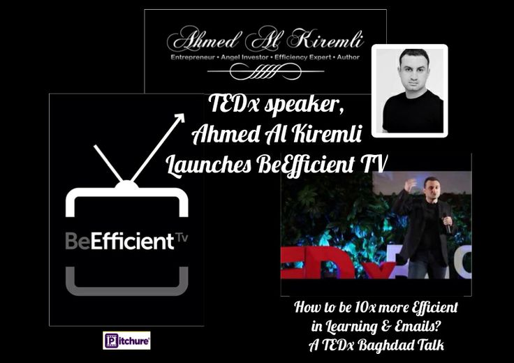 Be Efficient T.V. is a new Personal Development, Educational & Business service in The Middle East that will be available in English & Arabic. It's the brainchild of My good Friend, Serial Entrepreneur & TEDx Baghdad Speaker Ahmed Al Kiremli M.B.A. He's also a National Squash Champion in Iraq who resides in the United Arab Emirates. It's always a joy to meet & learn from Ahmed in Dubai & Abu Dhabi & I was delighted to be a Guest on His Show. Here's His Pitchure http://www.ahmedalkiremli.com