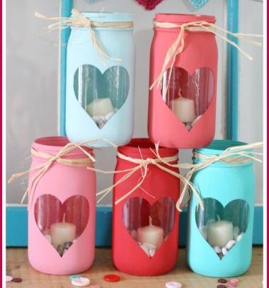 DIY Easy Valentine luminaries from mason jars // Egyszerű szív mintás befőttesüveg lámpás (Valentin napi dekoráció) // Mindy - craft tutorial collection // #crafts #DIY #craftTutorial #tutorial