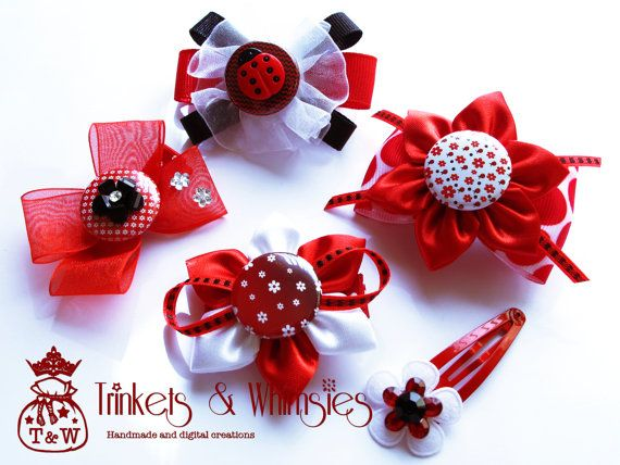 Ladyluck Ladylove Hairclip Set by TrinketsAndWhimsies on Etsy, $14.00