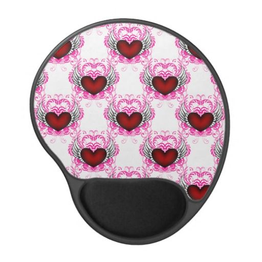 Customize Grunge Heart Wings Damask Gel Mouse Pad - This pattern is grunge style, it features red hearts with wings with a pink damask print radiating out from behind. Change the background colour to get it just the way you want it! http://www.zazzle.com/customize_grunge_heart_wings_damask_gel_mouse_pad-159990858927300305?rf=238523064604734277