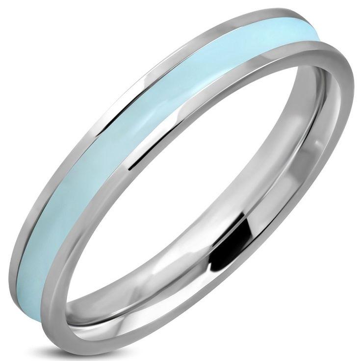 Lichtblauwe dames ring edelstaal RVS - Maat 16