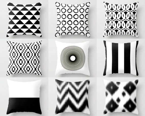 Throw Pillow Covers Black White Couch Cushion By HLBhomedesigns Part 50