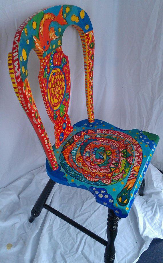 Flight of Fantasy OOAK recycled kitchen chair on Etsy, $85.00