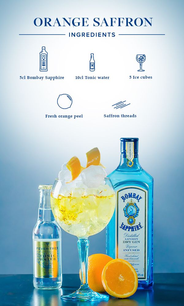 Orange Saffron: 1. Gently squeeze orange peel over your glass to release its essential oils, then put it in your glass along with the saffron threads. 2. Fill glass with ice cubes. 3. Add 5cl Bombay Sapphire and top off with tonic water.