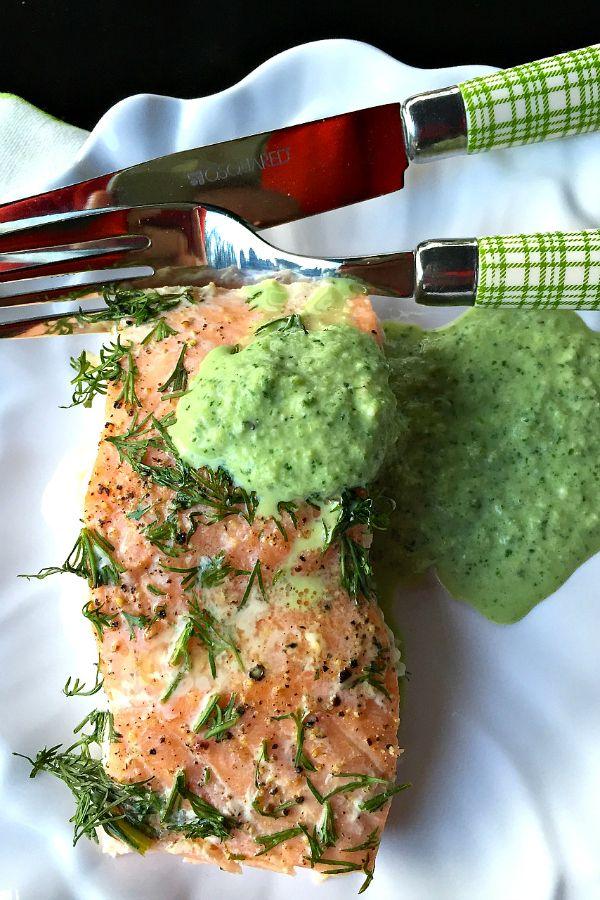 Lemon Dill Salmon with Cucumber Herb Sauce recipe