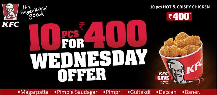 KFC's Wednesday Offer, hot and crispy chicken@ 400! Order online @ zaykedaar.com