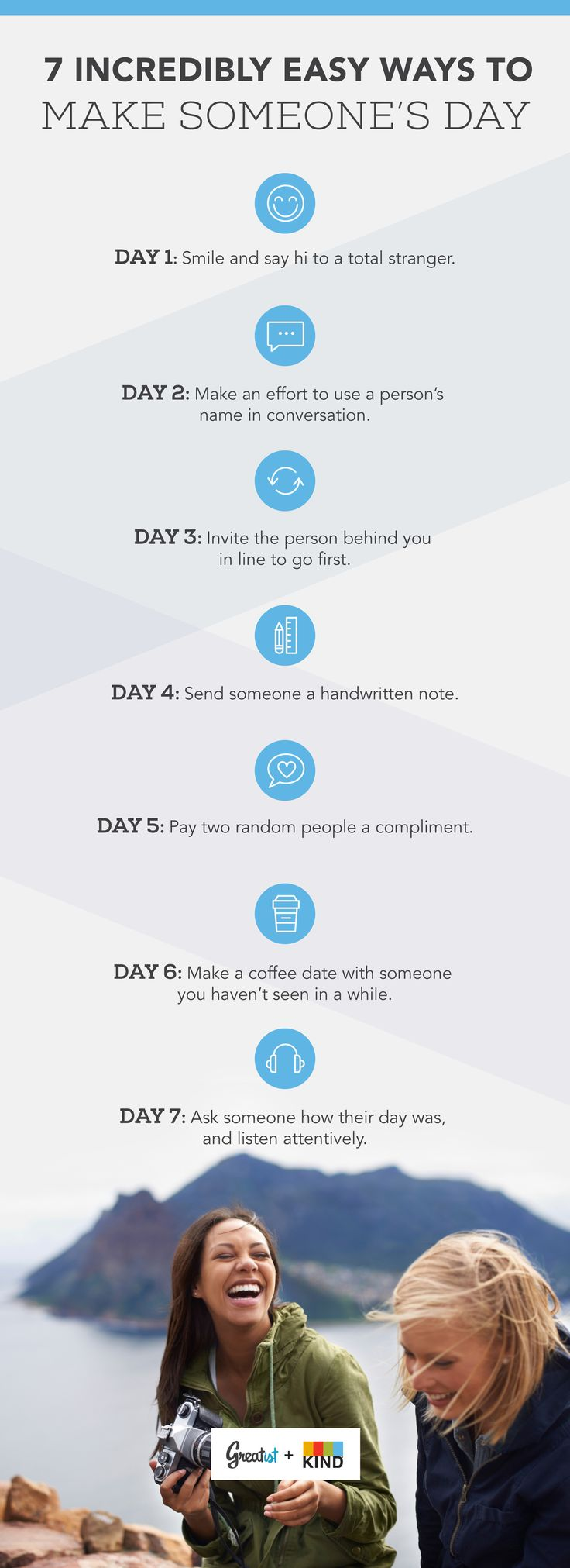 7 Incredibly Easy Ways to Make Someone's Day This Week #letsreconnect #healthy #relationships http://greatist.com/connect/easy-ways-to-make-someones-day