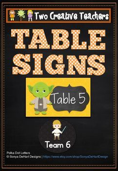 Two Creative Teachers - Team / Table Labels Star Wars ThemeThis product contains circular and rectangular team and table labels with a 'Star Wars' theme.Brighten up your classroom or learning space with these fun and colourful team/table labels. Teaching Ideas:* Display the signs on tables for children* Display the signs on the whiteboard for table points* Place children into teams using the team cards* Place the labels on trays and ask students to hand their completed work into their table…