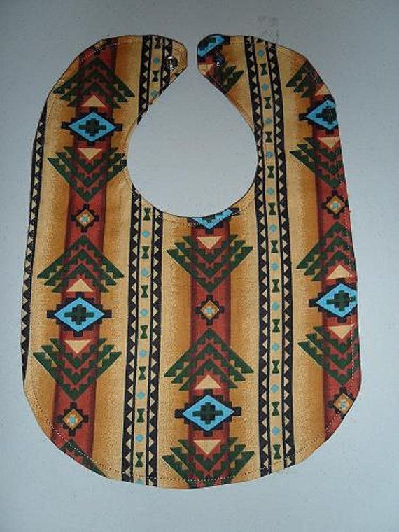 Tan Navajo Baby Bib by StarBoundWestern on Etsy, Country Western Rodeo Cowboy Native $6.00