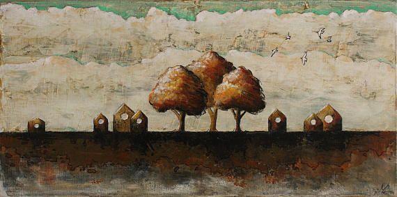 Bird houses painting brown tree painting bird hut bird wall