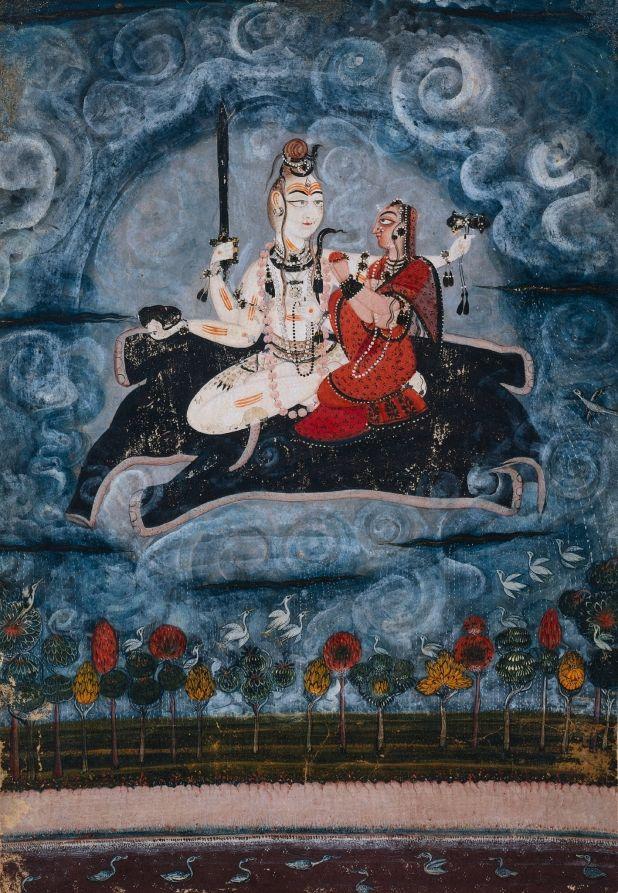 Shiva and Devi on Gajasura's Hide, c. 1675-1680. India, Pahari Hills, Basohli school, 17th century.