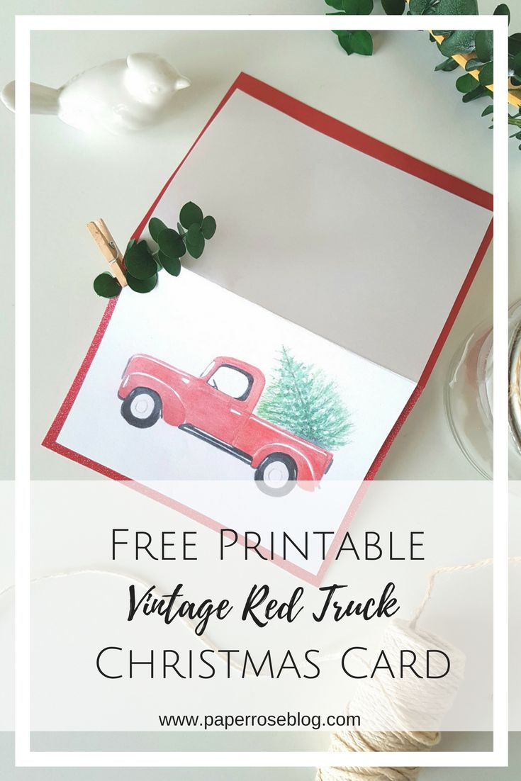 Free Printable Vintage Holiday Red Truck Handmade 2017 Christmas Card Template