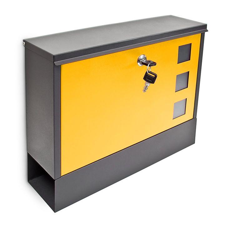 Modern-Two-Colour-Mailbox-Letterbox-Lockable-Newspaper-Slot-2-Keys-Colour-Choice