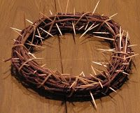Crown of Thorns--the kids can remove one toothpick every time they do something nice for someone during Lent. On Easter morning, the wreath will be clear of thorns and will be decorated with ribbons and flowers.