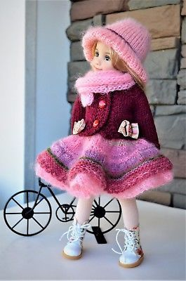 "Dianna Effner 13"" Little Darling OOAK Hand Knit 4 pc OUTFIT for Winter Wear"