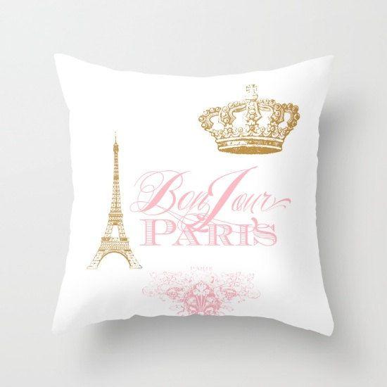 Paris pillow, Bonjour Paris Pink, gold, white throw pillow ...