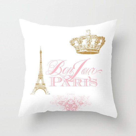 Paris pillow, Bonjour Paris Pink, gold, white throw pillow,rectangle, Eiffel Tower, girlie ...