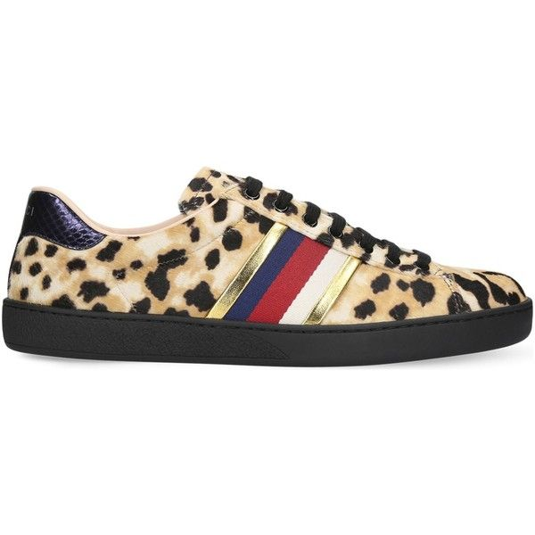 Gucci New Ace leopard-print pony-hair trainers ($870) ❤ liked on Polyvore featuring men's fashion, men's shoes, men's sneakers, gucci mens shoes, gucci mens sneakers, mens leopard print shoes and mens pony hair shoes