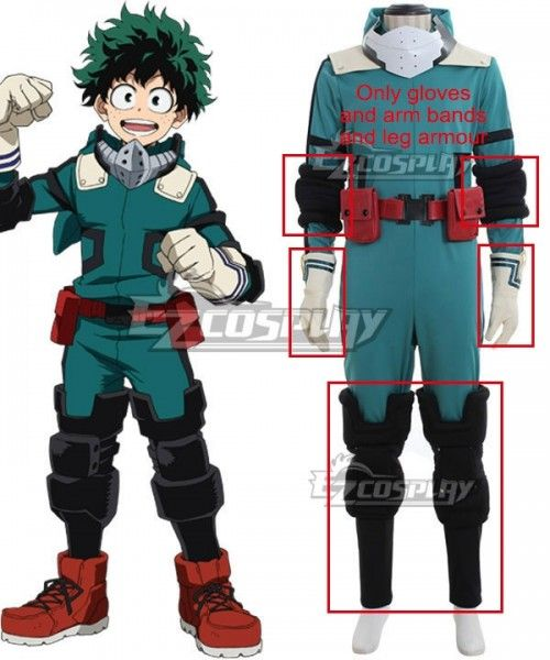 My Hero Academia Boku no Hero Akademia Izuku Midoriya Cosplay Costume -  Only gloves and arm bands and leg armour  Akademia 4ffca5357cab
