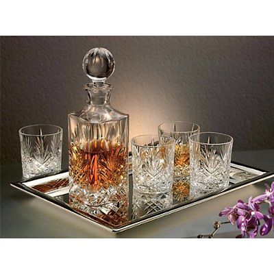 crystal whiskey decanter set canada with tray uk piece new