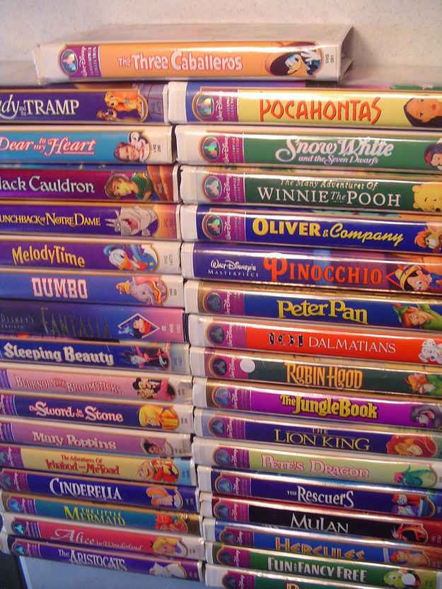 What we all did in the 90's: Perfectly stacking your Disney VHS tapes into a magnificent tower.