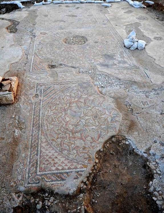 6th century A.D. floor mosaics revealed in southern Israel.