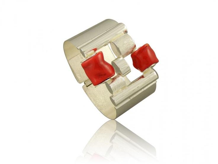 Silver art - handmade bracelet natural red coral