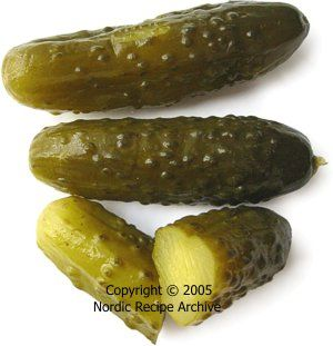 The genuine Russian pickled (salted) gherkins differ a lot from regular, sweet-and-sour pickled gherkins. Their brine consists of water and salt plus spices like dill, horseradish and fresh blackcurrant leaves. No vinegar or sugar is used. Other herbs and spices may be added according to one's taste, like bay leaf, tarragon, garlic, chilli pepper, parsley, thyme, and oak tree or cherry tree leaves. Gherkins prepared this way will be ready to eat after about one week.