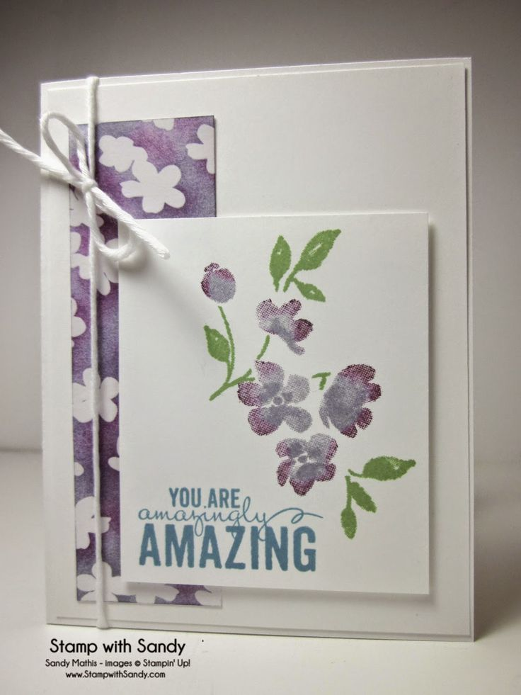 Stampin' Up! ... handmade card from Stamp With Sandy ... watercolor effect from stamped flowers ... light and pretty look in white and purples with a bit of green ...