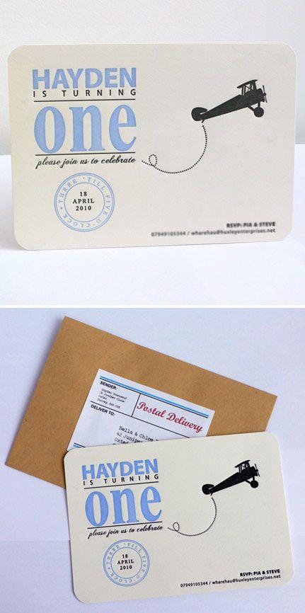 Letterpress First Birthday Invitations. Aviation theme?