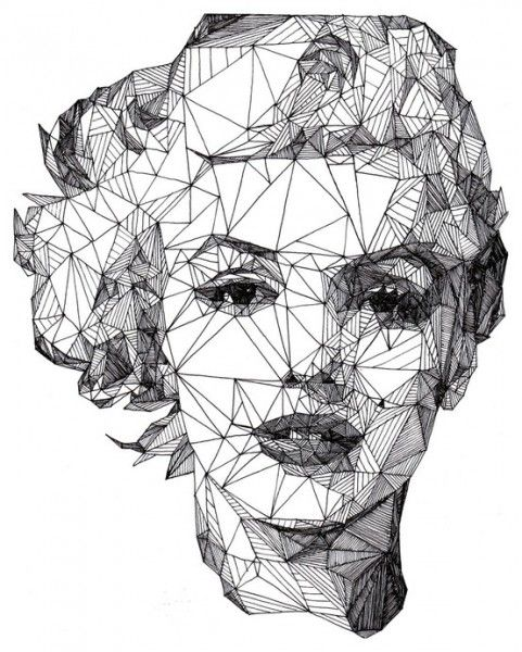 Marilyn Monroe portrait made out of geometric shapes. I wish the artist was credited because this is so cool! I'm trying to figure out how he or she did the eyes.