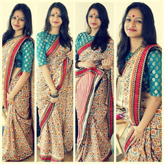 Block printed bengali silk saree with blue brocade blouse by Ayush Kejriwal - MinMit Clothing
