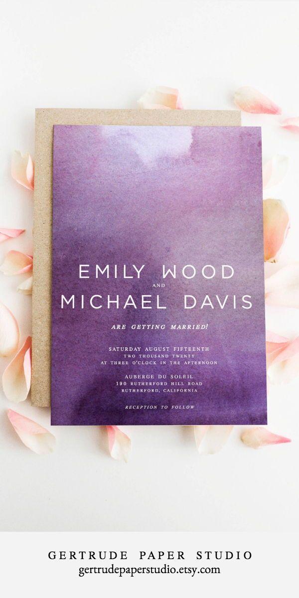 Modern Wedding Invitations Elegant Minimalist Diy Templates Simple Chic Unique Purple Watercolor Boho Theme Decor