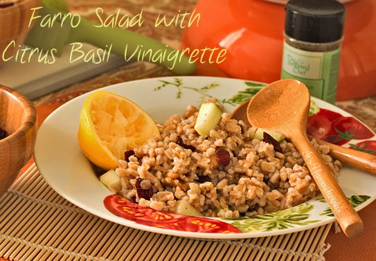 Farro Salad with Citrus Basil Vinaigrette from ItsYummi.com #RecipesFromTheHeartBasil Vinaigrette, Entrees Salad, Rad Recipe, Healthy Salads, Farro Salad, Healthy Eating, Basil Viniagrette, Basil Dresses, Citrus Basil
