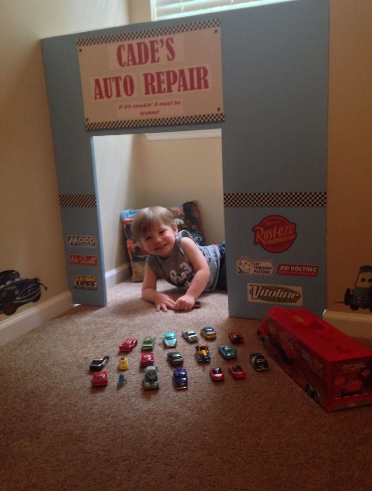 "#Disney Cars Bedroom #toddler boys room.  My son is obsessed with Disney Cars so for his new ""big boy room"" I wanted to recreate a little piece of Radiator Springs. This is his very own Auto Repair Shop I made with scrap plywood and paint. I printed off some Cars theme logos and made his sign that reads ""if it's smokin' it must be broken"" watch out Luigi's Casa Della Tires!!!"