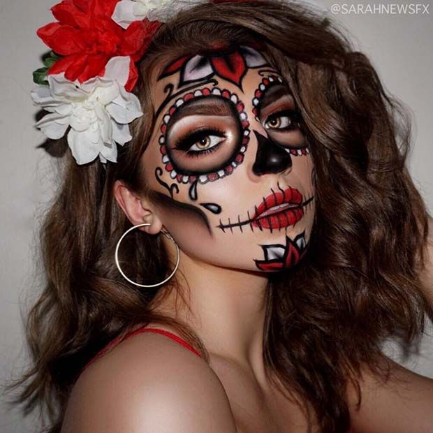 Pretty Dia De Muertos Sugar Skull Makeup Halloween Makeup Pretty Halloween Makeup Diy Halloween Makeup Sugar Skull