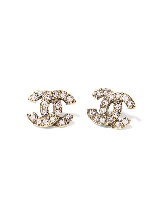 Banana Republic Womens Luxe Finds |; Chanel Pink Crystal Logo Earring Gold With Pink Crystals Size One