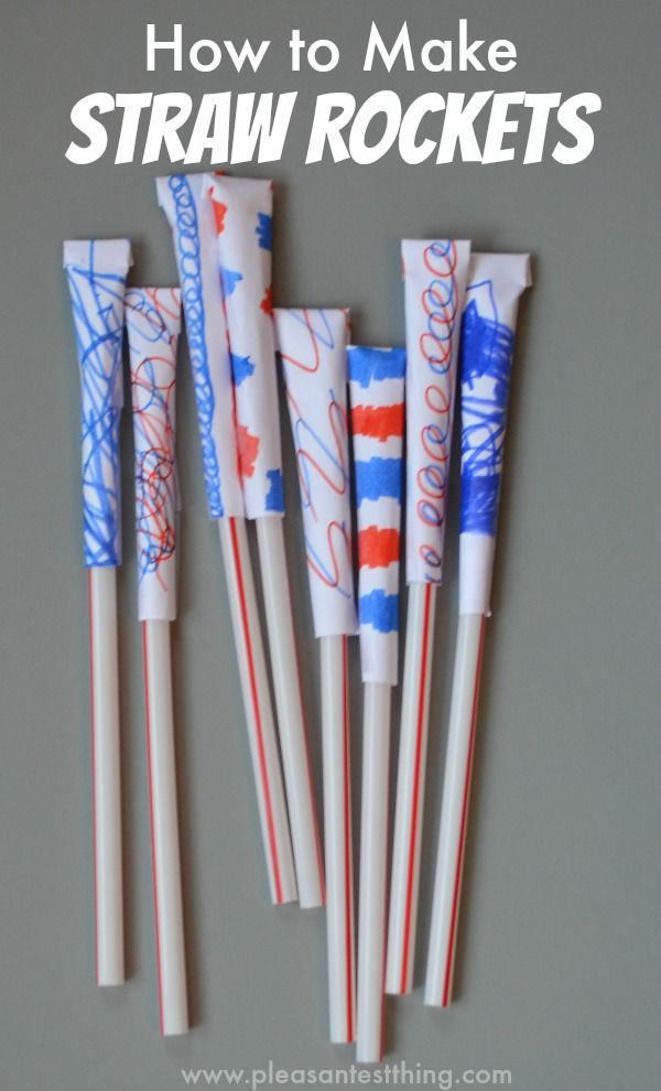 How to Make Straw Rockets. Great for the 4th of July or a rainy day!