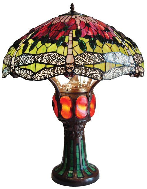 Dragonfly Design W/Lighted Base Tiffany Styled Table Lamp $248