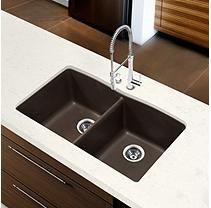 Blanco Diamond Equal Double Bowl Kitchen Sink - Café Brown
