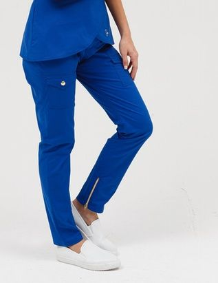 The Skinny Cargo Pant in Royal Blue is a contemporary addition to women's medical scrub outfits. ShopJaanuufor scrubs, lab coats and other medical apparel.