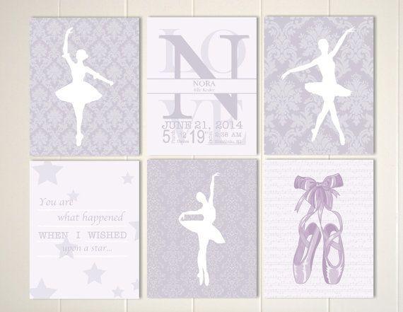 Ballerina nursery, baby girl nursery art, ballet slippers, damask nursery wall art, baby monogram wall art, custom colors, Set of 6 prints by PicabooArtStudio, $38.00