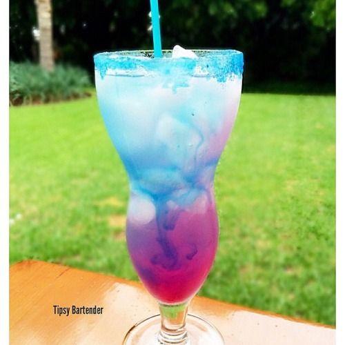 Galaxy Lemonade (1 oz Bacardi Razz 1 oz Raspberry Liqueur 4 oz Lemonade 1 oz Blue Curacao 1/2 oz Grenadine)