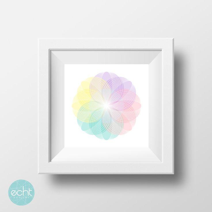 Flower Pastels - Pink, Blue, Orange, Yellow, Purple -  Abstract Petals Wall Art, Digital Print by ECHTDESIGNS on Etsy